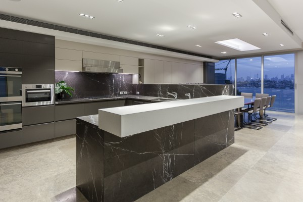 CPT Interiors & Construction - Rose Bay renovation - Kitchen and dining area with harbour views