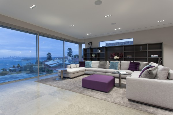 CPT Interiors & Construction - Rose Bay renovation - Lounge area with full harbour views